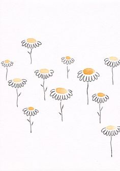 Simple floral sketch. Yellow flowers drawing. Original watercolor and ink artwork. Naive style illustration.