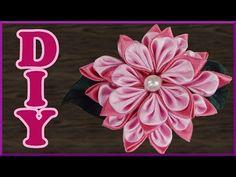 DIY Kanzashi | Blume aus Satinband basteln | Stoffblume | Satin ribbon flower barrette - YouTube