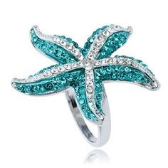 Swarovski blue Crystal starfish WGP Fashion Finger Ring Arinna, http://www.amazon.com/dp/B00813TITC/ref=cm_sw_r_pi_dp_X4ihrb08BHCQF