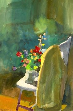 Paul Wonner (American, 1920-2008) Flowers on the Chair, 1962