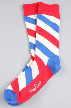Happy Socks The Polka Stripe Socks in Navy & Red A pair of striped tube socks with logo detail at sole; these unique styles and colors make for Happy Feet. By Happy Socks Silly Socks, Crazy Socks, Happy Socks, Cool Socks, Classic Barber Shop, Fashion Socks, Mens Fashion, Barber Accessories, Barber Shop Pole