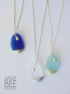 Hand-painted #seaglass necklaces from JewelryByMaeBee on #Etsy. #sfetsy www.jewelrybymaebee.etsy.com