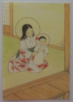 Vintage Japanese Madonna Christmas Greeting Card - Carmel, Tokyo, Japan - Mother and Child