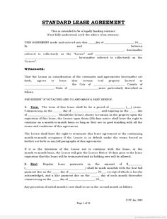 Free Rental Agreements To Print | FREE Standard Lease Agreement FORM |  Printable Real Estate Forms