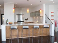 Open Relationship - Modern Kitchens on HGTV...use red or navy instead of light grained wood
