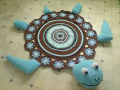 Sea Turtle Rug - free crochet rug patterns another perfect on for a littles ones nursery :) Beau Crochet, Crochet Home, Cute Crochet, Crochet For Kids, Beautiful Crochet, Crochet Baby, Knit Crochet, Irish Crochet, Simple Crochet