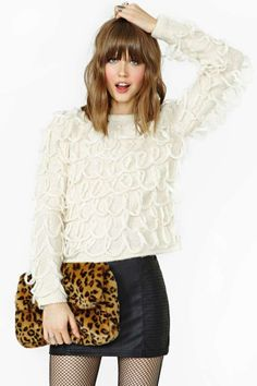 Lucca Couture Loopy Fringe Sweater