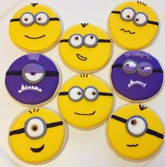 Minion decorated sugar cookies by NHCookieKreations on Etsy Minion Cookies, Star Cookies, Royal Icing Cookies, Disney Cake Toppers, Royal Icing Decorations, 3rd Birthday, Birthday Cakes, Birthday Ideas, Manualidades