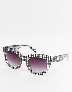 ASOS Cat Eye Sunglasses In Gingham Print