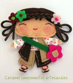 Felt Doll Brooch (could be used for anything!) so cute