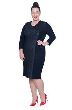 Wyszczuplająca granatowa sukienka ozdobne wstawki - Modne Duże Rozmiary