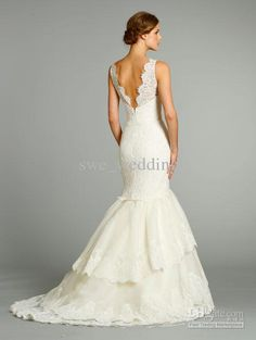 Hot Selling 2013 Sleeveless V-neck Applique Organza Mermaid Gown Jim Hjelm Wedding Dress JH8259 S02