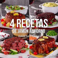 4 Recetas de Jamón al Horno [Video] Pork Recipes, Mexican Food Recipes, Cooking Recipes, Healthy Recipes, Cooking Tips, Easy Cooking, Thanksgiving Recipes, Holiday Recipes, Dinner Recipes