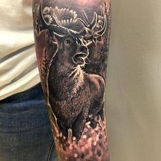deer realistic black and grey tattoo by Krisztian Tattoo Anansi Munich, Germany Stag Tattoo, 3 Tattoo, Wolf Tattoos, Animal Tattoos, Tattoo Studio, Natur Tattoos, Black And Grey Tattoos, Vikings, Black Deer