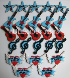 Rock n' Roll Baby Shower Art Cookies by DeliciousArts on Etsy, $60.00