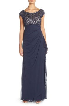 Xscape Metallic Lace & Jersey Gown (Regular & Petite) available at #Nordstrom