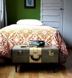 another good idea for using an old suitcase (or trunk) - add legs of whatever height you want to make another place for convenient storage.