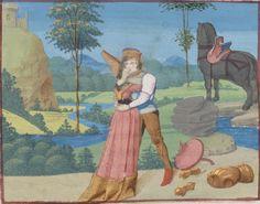 """Tristan welcomes the girl sent by Isolde"". later 15th century (ca. 1470) Bibliothèque de Genève Ms. fr. 189: Tristan en Prose fol. 177v - http://www.e-codices.unifr.ch/en/list/one/bge/fr0189"