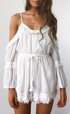 #spring #outfits White Cold Shoulder Romper 💕