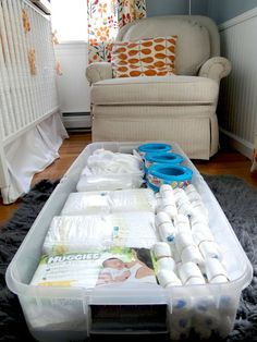 #Nursery Organization. Great way to store diapers, wipes, crib sheets, and more.