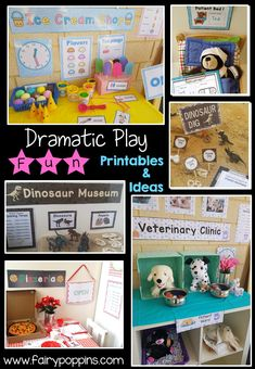 Printables and ideas for setting up fun dramatic play centers ~ Fairy Poppins Dramatic Play Themes, Dramatic Play Area, Dramatic Play Centers, Early Learning Activities, Play Based Learning, Learning Through Play, Learning Resources, Teaching Tools, Kids Role Play