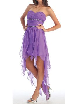 I love this hi-low dress and shawl decorated with violet in - Dresses for Teens Plus Size Homecoming Dresses, High Low Prom Dresses, Dresses For Teens, Formal Dresses, Homecoming Ideas, High Low Chiffon Dress, High Low Gown, Dama Dresses, Pageant Dresses