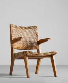 Anonymous; Oak and Cane Armchair, 1950s.