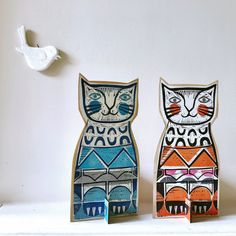 My two naughty cats have been menacing the birds lately. 😔 I keep buying them new collars with bells on only for the collars to almost… Sam Groom, Ginger Cats, Linocut Prints, Cat Art, Hand Carved, Collars, Carving, Birds, Stamp