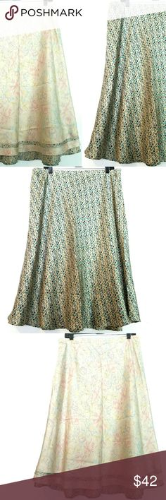 Sundance XL Reversible Silk Skirt - 2 in 1! This Sundance XL Reversible Silk Skirt is in great used condition. It's like getting two skirts with one garment--one side with vintage-look pastels and the other side is a blue and brown print. 29 inches long. Elastic waist. From Robert Redford's Sundance catalog. ::: Bundle and save! ::: No trades. Sundance Skirts