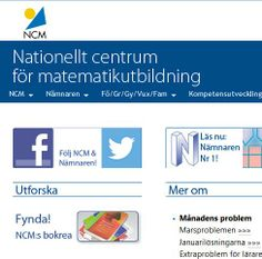 Nationellt centrum för #matematikutbildning http://ncm.gu.se/ På Twitter https://twitter.com/NCMaktuellt . På Fb https://www.facebook.com/pages/NCM-Nationellt-centrum-f%C3%B6r-matematikutbildning/424944850920858 . Eller https://www.facebook.com/pages/NCM-Nationellt-centrum-f%C3%B6r-matematikutbildning