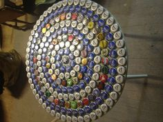 Repurposed side table with beer caps