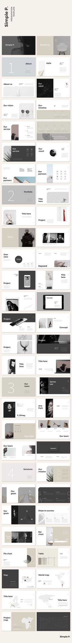 Simple P. PowerPoint Template - Presentations #ppt #powerpoint #template #minimal #chart #portfolio #proposal #mockup #map