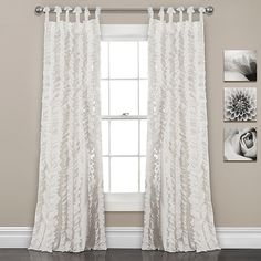 Sophia Ruffle Window Curtain Panels White Set - Lush Decor fancy, frilly curtains feature flowing hand-crafted vertical ruffles, turning your windows from ordinary to extraordinary. The fabric is so soft and lies beautifully from top Ruffle Curtains, Tab Top Curtains, Sheer Curtain Panels, Curtain Sets, Window Panels, Window Curtains, Curtains Kohls, Bedroom Curtains, Thermal Curtains