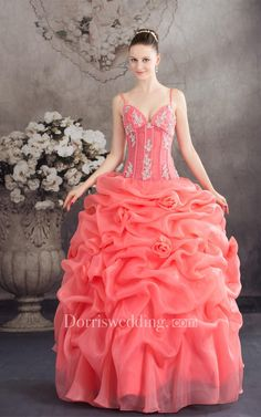 #Valentines #AdoreWe #Dorris Wedding - #Dorris Wedding Spaghetti-Strap Ruffled Spaghetti Straps and Ball-Gown With Appliques - AdoreWe.com