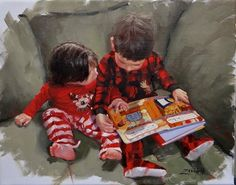 Twas The Night Before by Laura Lee Zanghetti Laura Lee, Red Pajamas, How To Read People, Twas The Night, The Night Before, Art History, Fine Art America, Wall Art, Reading People