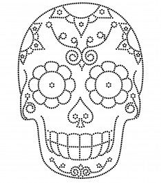 Moldes Halloween, Halloween Crafts, Halloween Decorations, Sugar Skull Tattoos, Sugar Skull Art, Sugar Scull, Skull Coloring Pages, Coloring Books, Embroidery Stitches