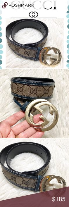 8755dc8d0 Authentic Gucci Monogram Belt Authentic Gucci Monogram navy blue leather  and brown belt. Preowned condition