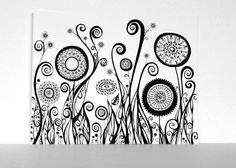 Black and White Art Print - Line Drawing of Five Circular Flowers and One Oval Bloom 11x14 PRINT by SometimesISwirl