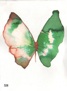 green butterfly with red and white original watercolour painting
