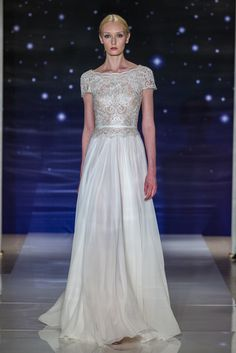 Look 11Silk chiffon bateau neck dress with embroidered bodice and low back detail
