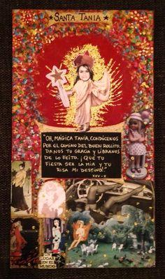 Santa Tania. Collage sobre madera