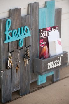 Key and mail organizer on reclaimed wood. #HomeDecor #DIYDecor