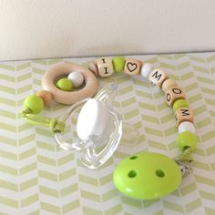 Pacifier clip green and natural wood pacifier by orangeandcoco