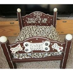 This Sweet Dreams pets bed is hand made in the USA. Hand Painted dog bed for your special dog or cat.