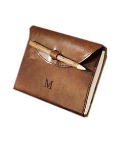 Saddle Leather Journal This monogrammed buffalo-leather diary makes a great gift for the traveler in your life. Leather Notebook, Leather Books, Leather Journal, Saddle Leather, Leather Bag, Cool Journals, Writing Journals, Leather Diary, Notebook Covers
