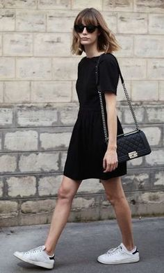 65 Great Work Outfit Ideas With Sneakers Outfit Of The Day Little Black Dress Plus Bag Plus White Sneakers Dress And Sneakers Outfit, Sneaker Outfits Women, Black Dress Outfits, Sneakers Fashion Outfits, Girly Outfits, Casual Summer Outfits, White Sneakers Outfit Spring, Work Outfits, Little Black Dress Outfit