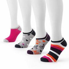 SO® 4-pk. Bicycle, Stripe and Heart No-Show Socks SO®. $12.00