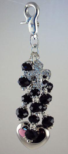 Fleur de lis purse light in black, by Diva Dangles at www.divadangles.com
