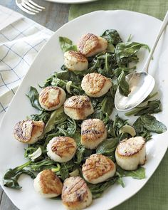 Scallops with Wilted Spinach and Arugula Recipe