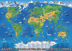 XXL/1,35 Meter - Panorama Kinder Weltkarte (Edition 2015) (100349249) | Günstig bei geosmile.de